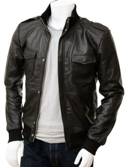 Mens Stylish Black Bomber Leather Jacket - Front Open - Wairio