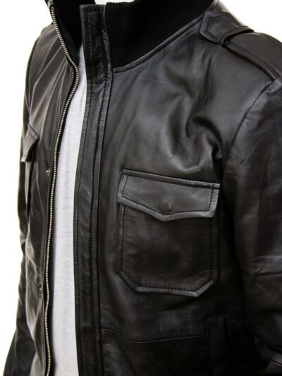 Mens Stylish Black Bomber Leather Jacket - Side - Wairio