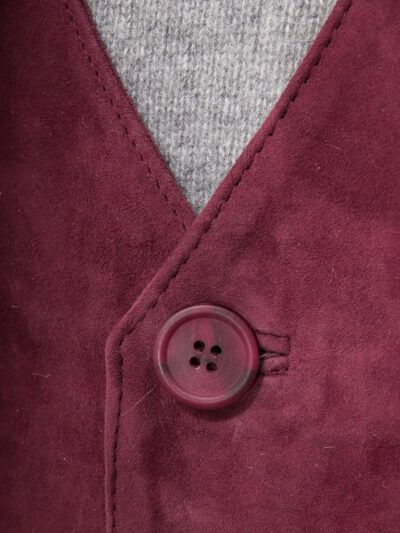 Mens Suede Burgundy Leather Waistcoat - Button - Dunedin