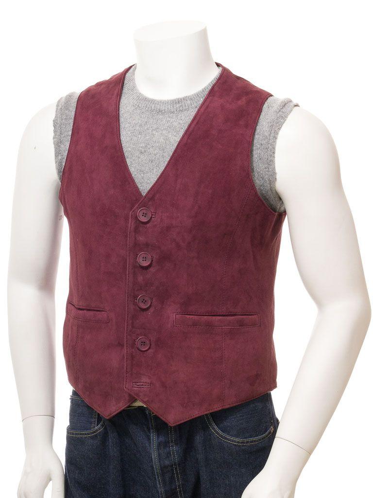 Men's Suede Burgundy Leather Waistcoat: Dunedin