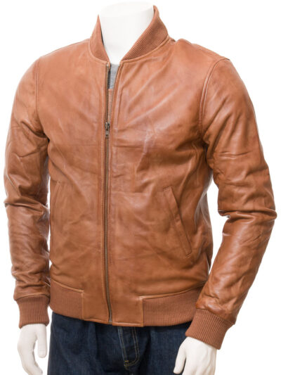 Mens Tan Classic Bomber Leather - Front Close - Kurow