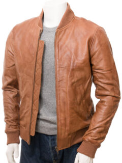 Men's Tan Classic Bomber Leather Jacket: Kurow