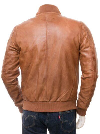 Mens Tan Classic Bomber Leather - Kurow