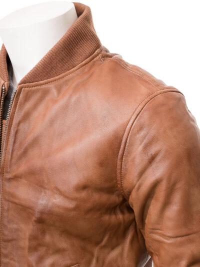 Mens Tan Classic Bomber Leather - Shoulders - Kurow