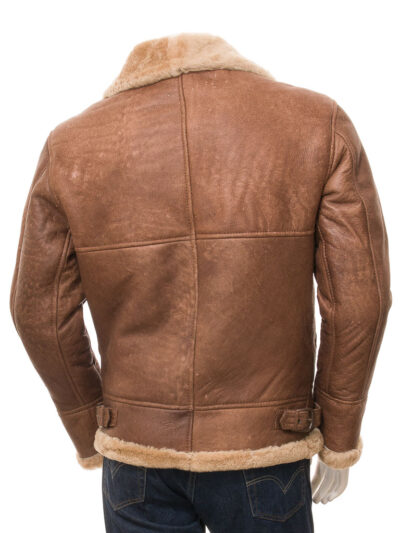 Mens Tan Faux Fur Flying Leather Jacket - Back - Sanson