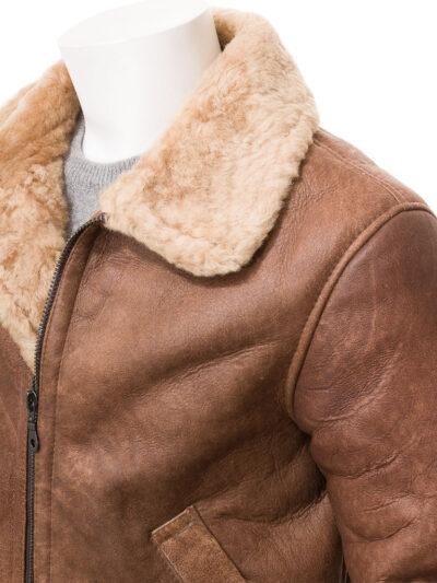 Mens Tan Faux Fur Flying Leather Jacket - Closer - Sanson