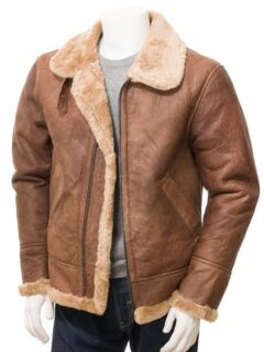 Men's Tan Faux Fur Flying Leather Jacket: Sanson