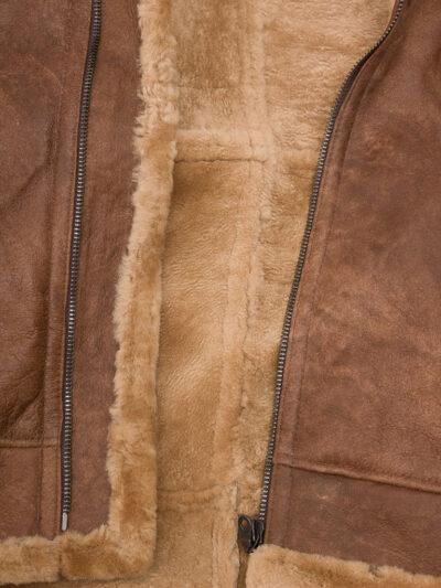Mens Tan Faux Fur Flying Leather Jacket - Inner Lining - Sanson