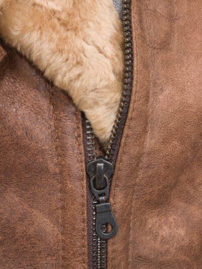 Mens Tan Faux Fur Flying Leather Jacket - Zip - Sanson