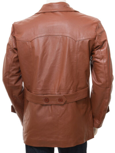 Mens Tan Leather Peacoat - Back - Mokau