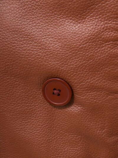 Mens Tan Leather Peacoat - Button - Mokau