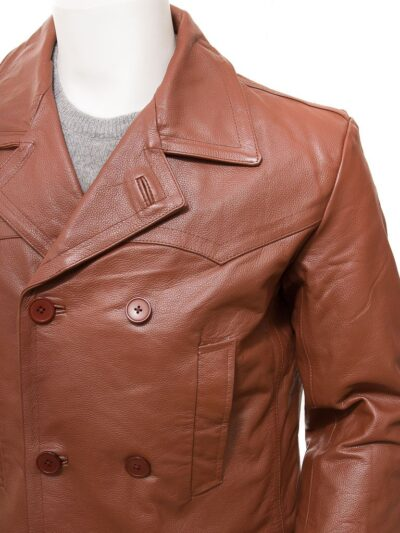 Mens Tan Leather Peacoat - Closer - Mokau
