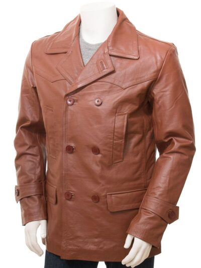 Mens Tan Leather Peacoat - Front - Mokau