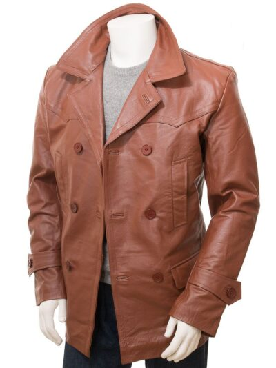 Mens Tan Leather Peacoat - Front Open - Mokau