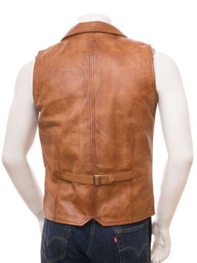 Mens Tan Leather Waistcoat - Back - Drury