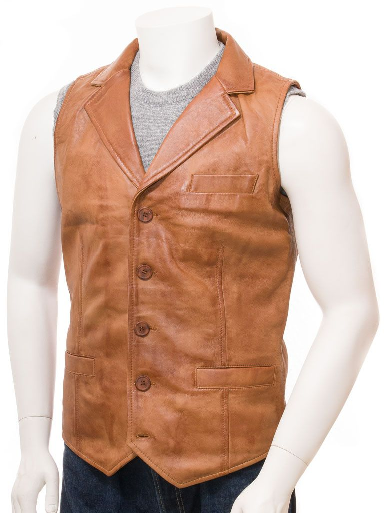 Men's Tan 100% Sheepskin Leather Waistcoat: Drury