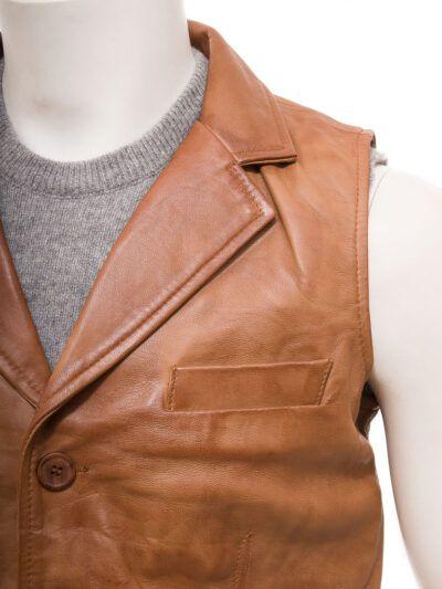 Mens Tan Leather Waistcoat - Front - Drury
