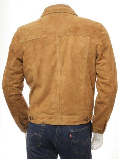 Mens Tan Suede Trucker Leather Jacket - Back - Kumara