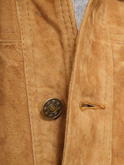 Mens Tan Suede Trucker Leather Jacket - Button - Kumara