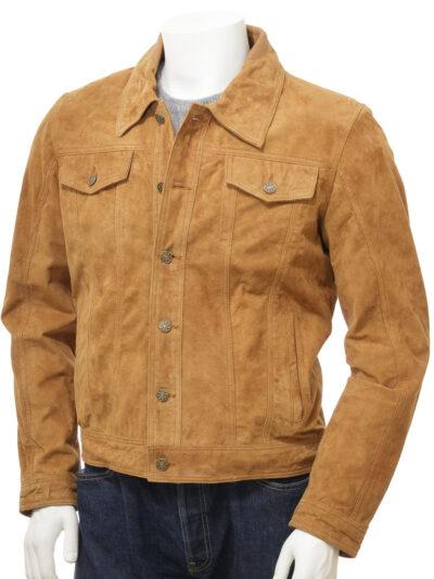 Mens Tan Suede Trucker Leather Jacket - Front Close - Kumara