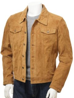Men's Tan Suede Trucker Leather Jacket: Kumara