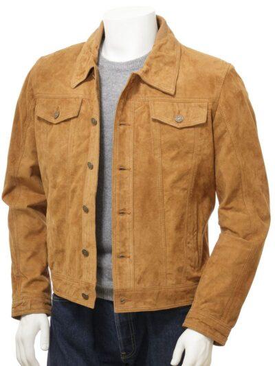 Mens Tan Suede Trucker Leather Jacket - Front Open - Kumara