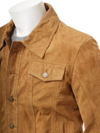 Mens Tan Suede Trucker Leather Jacket - Side - Kumara