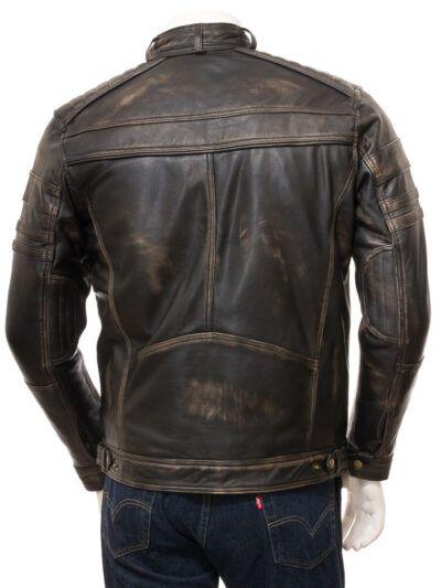 Mens Vintage Biker Leather Jacket - Back - Towai