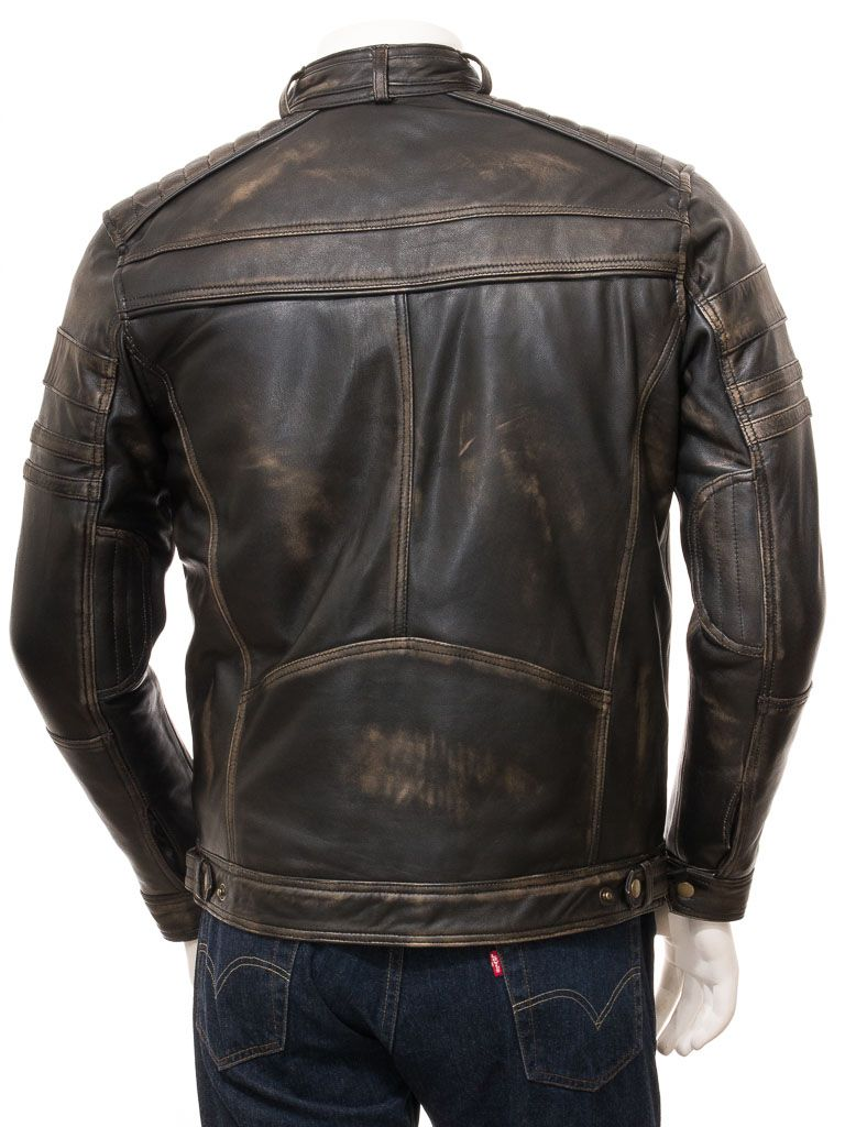 Men's Vintage Biker Leather Jacket: Towai