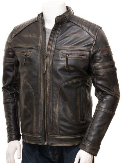 Mens Vintage Biker Leather Jacket - Front - Towai