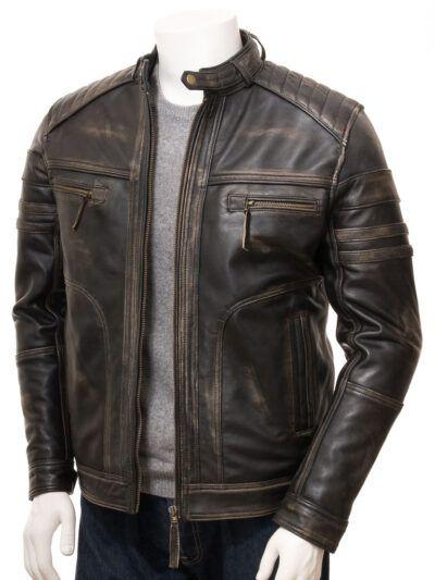 Mens Vintage Biker Leather Jacket - Front open - Towai