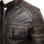 Mens Vintage Biker Leather Jacket - Shoulder - Towai