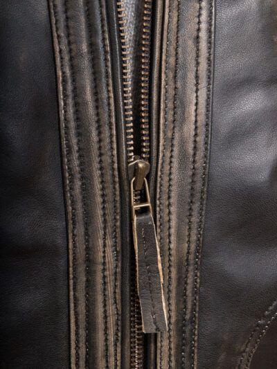 Mens Vintage Biker Leather Jacket - Zip - Towai