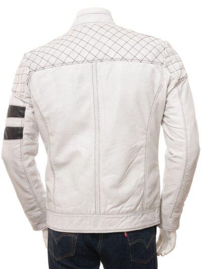 Mens White Cafe Racer Leather Jacket - Back - Owaka