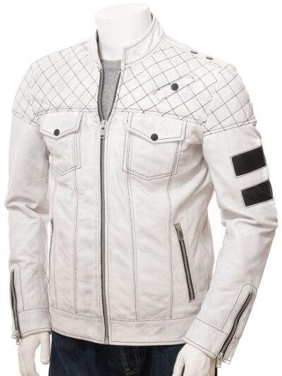 Mens White Cafe Racer Leather Jacket - Front Close - Owaka
