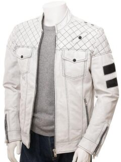 Men's White Cafe Racer Leather Jacket: Owaka