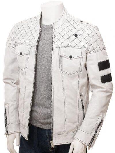Mens White Cafe Racer Leather Jacket - Front Open - Owaka