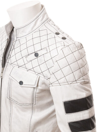 Mens White Cafe Racer Leather Jacket - Side - Owaka