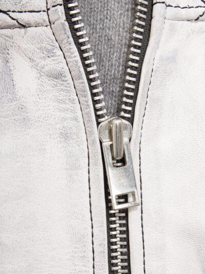 Mens White Cafe Racer Leather Jacket - Zip - Owaka