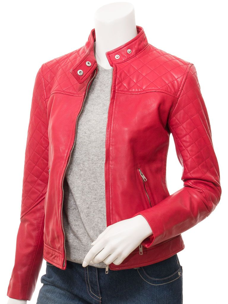 Women's Quilted Shoulders Red Biker Leather Jacket: Hastings