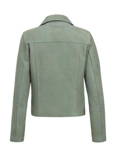 Womens Fern Biker Leather Jacket - Back - Gisborne