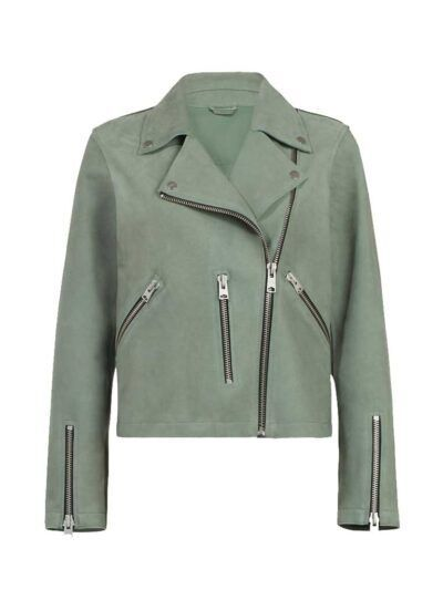 Womens Fern Biker Leather Jacket - Front - Gisborne