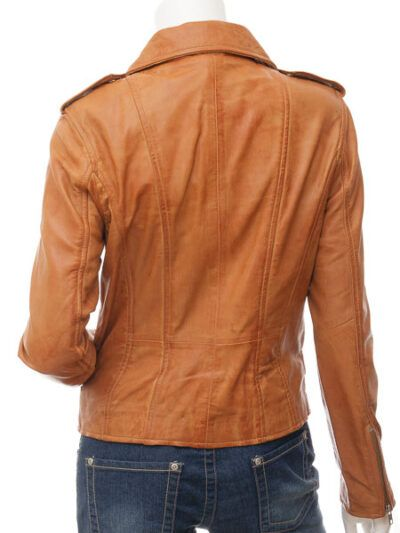 Womens Tan Biker Leather Jacket Double Brested - Back - Inglewood