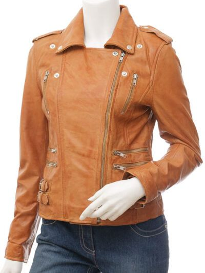 Womens Tan Biker Leather Jacket Double Brested - Front Close - Inglewood