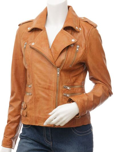 Womens Tan Biker Leather Jacket Double Brested - Front - Inglewood
