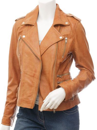 Womens Tan Biker Leather Jacket Double Brested - Front Open - Inglewood