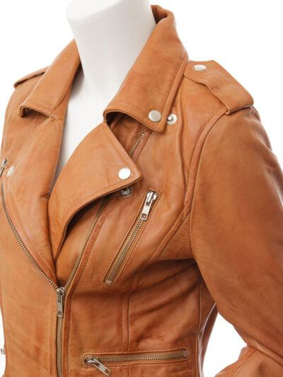 Womens Tan Biker Leather Jacket Double Brested - Side - Inglewood