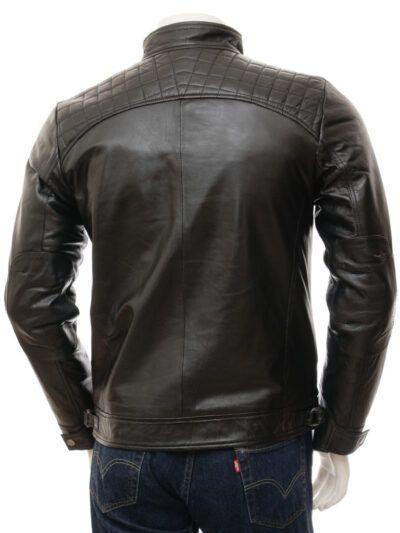 Mens Black Biker Leather Jacket - Back - Rawene
