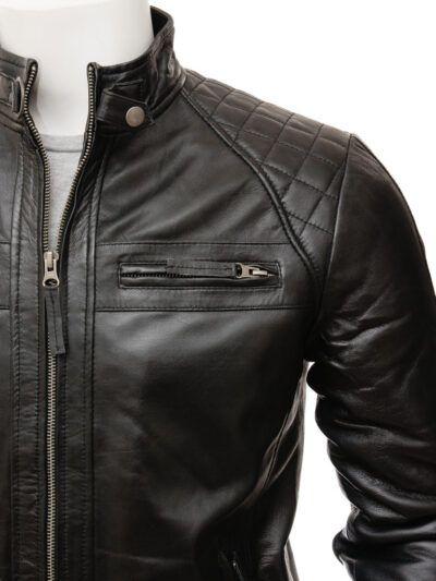 Mens Black Biker Leather Jacket - Closer - Rawene