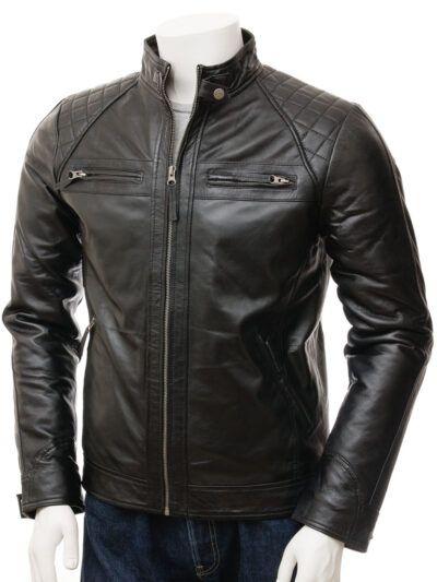 Mens Black Biker Leather Jacket - Front - Rawene